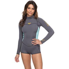 Roxy 2/2 Syncro Series Spring FLT Back Zip Long Sleeve Wetsuit Women Deep Grey/Glicer Blue
